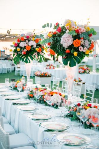 centrotavola matrimonio luxury wedding tropical coral