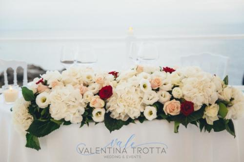 fiori tavolo sposi wedding burgundy matrimonio