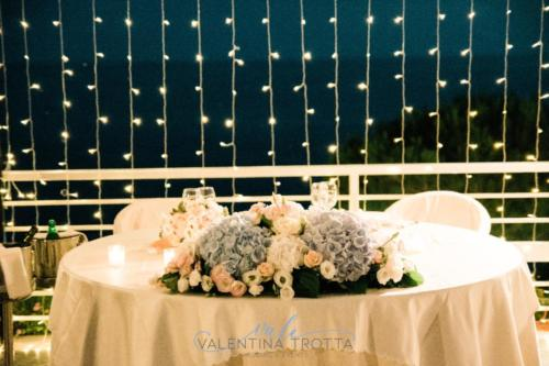 tavolo sposi luci