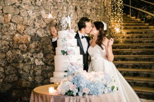 torta nuziale wedding cake rosa celeste