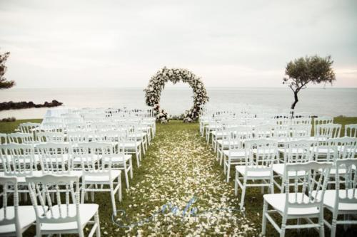 wedding in italy seaside ceremony arch